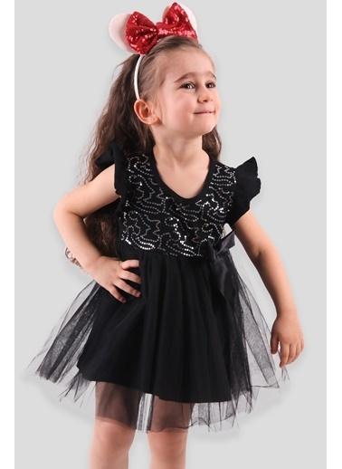 Breeze Kız Çocuk Tüllü Elbise Pullu Siyah (4 Yaş) Siyah